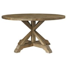 TRIBECCA HOME Benchwright Rustic X base Round Pine Wood Dining
