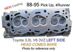 88-95 Toyota 3.0 3VZ LEFT V6 bare cylinder head. Fits: 4Runner and Pickup.  Reinforced providing higher mechanical performance.