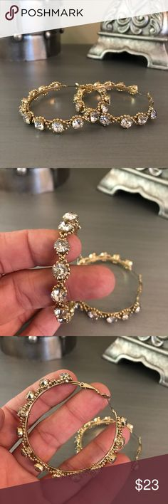 🛍 Gold Diamond Textured Hoop Earrings Gold tone.  Simulated stones. Boutique Jewelry Earrings