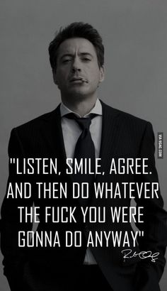Ah Robert Downey Jr.'s attitude, still a bad boy without the bad boy lifestyle