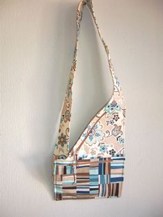 Cross body purse with coordinating plaid and floral cotton