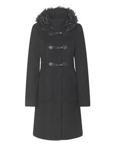 """""""Dannimac"""" Dannimac Faux Fur Trim Duffle Coat at Simply Be"""
