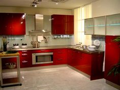 cool red kitchen cabinet design for apartement