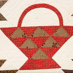 "Early Quilt – Basket | Mingei; Pat Nichols collection, c. 1840s, 76"" x 88"", accession no. 2012-35-081"