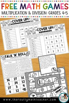 FREE Multiplication and Division Games- Engage your students with four fun, standards-based games reinforcing whole number multiplication and whole number division. This free resource pack includes three dice games and one file folder game. Skills include multiplying large numbers, dividing large numbers, and interpreting remainders. This pack also includes a board game emphasizing multiple whole number operations. #RouttyMath #MultiplicationandDivision #MathGames  #EngagingMathActivities