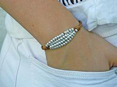 Women leather bracelet,leather bracelet,leather bracelet for women,beaded bracelet, silver Beaded Bracelet Patterns, Beaded Wrap Bracelets, Cord Bracelets, Ankle Bracelets, Beaded Jewelry, Silver Jewelry, Hair Jewelry, Silver Earrings, Leather Bracelet Tutorial