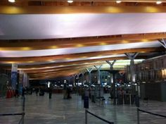 Beautiful use of natural materials at Oslo airport check-in - great Feng Shui! :)