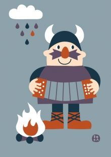 Viking met trekzak (ansichtkaart)