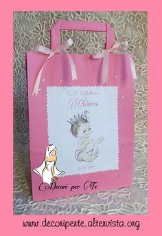 """""""BABY BAG"""" sacchettino personalizzato che contiene la bomboniera da consegnare ad amici e parenti. decorato con fiocchi in raso, eventuali cristalli, perle, gessi profumati, bottoni ecc..."""