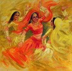 Catch the Rhythm by Shekhar Ballari Indian Women Painting, Indian Art Paintings, Indian Artist, Hall Painting, Painting Of Girl, Figure Painting, Rajasthani Painting, Rajasthani Art, Indian Illustration