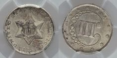 "Description: A beautiful mint state silver 1851 three-cent piece (Trimes). The date 1951 represents the first year for this type of coin. This is a Type I coin and is graded by PCGS as Mint State ""MS6"