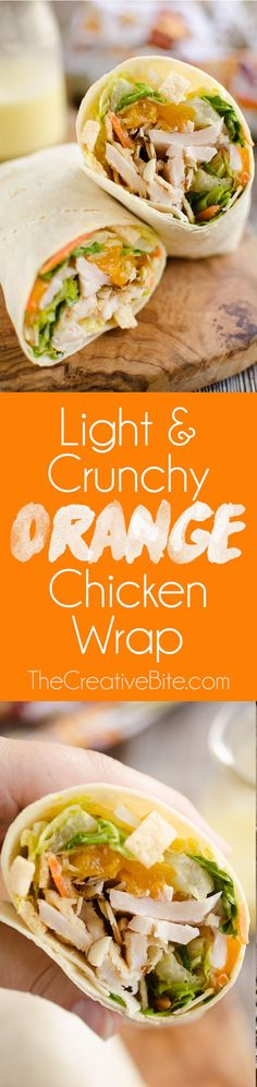 Light & Crunchy Orange Chicken Wrap is a healthy and flavorful lunch idea made with wontons, almonds, mandarin oranges and chicken. #Healthy #Wrap #Lunch