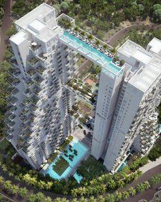 Swimmable Skybridge, Bishan Central Condominium, Singapore.