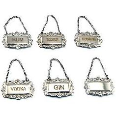Stamped Liquor Decanter Labels - Set of 6