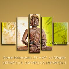 Pentaptych Feng Shui Zen Art Contemporary Painting Buddha Oil On Canvas. In Stock $218 from OilPaintingShops.com @Bo Yi Gallery/ ops1061