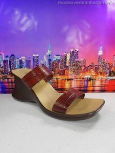 Womens shoes HOKUS POKUS Elegance Moc Croc ITALY wedge slide VTG sandals sz 9 M #HokusPokus #PlatformsWedges