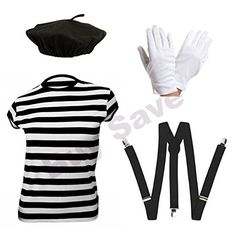Childrens Kids Mime Artist French T Shirt, Beret Hat, Braces & Gloves Fancy Dress Costume years) Easy Costumes, Dress Up Costumes, Halloween Costumes, Halloween Ideas, Costume Ideas, Dress Up Day, Kids Dress Up, Mime Costume, Mime Artist