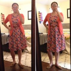 LulaRoe Ameilia Dress (left backwards for nursing; right correct way with zipper in back) with brown belt and brown loafers