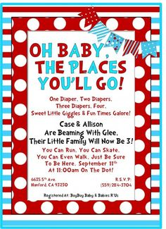 dr seuss baby shower invitations | Dr. Seuss Inspired Baby Shower Invitation | Party Ideas