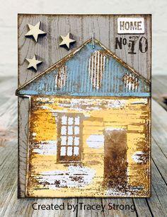 ATC by Tracey Strong using Darkroom Door Home Sweet Home Rubber Stamps. http://www.darkroomdoor.com/rubber-stamp-sets/rubber-stamp-set-home-sweet-home