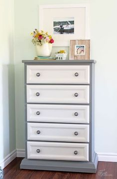 Tall dresser makeover using just paint and trim work, you won't believe the before decor Modern Tall Dresser, Dresser With Mirror, Dresser Drawers, Diy Dresser Makeover, Furniture Makeover, Dresser Makeovers, Furniture Refinishing, Grey Bedroom Furniture, Bedroom Decor