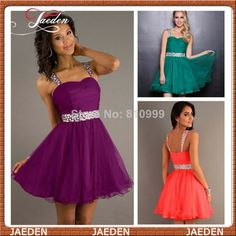 New Free Shipping Cheap Hot Sale Fashion Short Prom Dress For Girls Crystal Waist Straps Mini Party Gowns 2014 $68.00