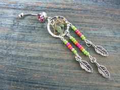dreamcatcher belly ring turquoise green pink orange beads in native americaninspired tribal boho hippie belly dancer and hipster style
