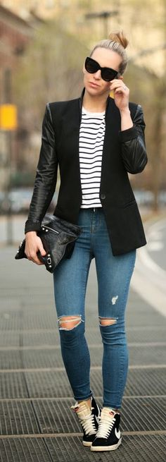 For an edgier take on a classic black jacket, opt for one with leather…