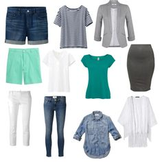 grey and teal capsule summer wardrobe