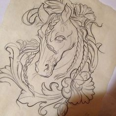 Horse thigh tattoo