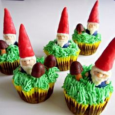 Totally edible gnomes used as cupcake toppers