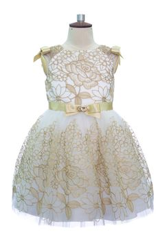 IVORY AND GOLD BROCADE DRESS