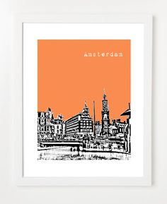 Amsterdam Poster - 8x10 City Skyline Art Print