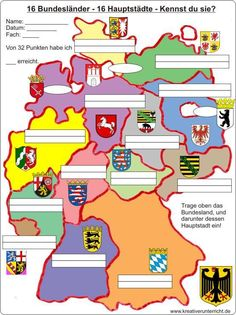 16 Hauptstädte - 16 federal states of Germany - Lehrer Teaching Science, Teaching Resources, Capital One Credit Card, German Resources, German Grammar, German Language Learning, Learn German, Primary School, Primary Education