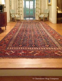 This 19th Century Kurdish Bijar Corridor Carpet Presents the Perfect Dimensions and Ideal, Rhythmical Pattern Language for an Entry Hall