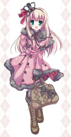 ✮ ANIME ART ✮ gothic lolita. . .coat. . .ribbon. . .bag. . .boots. . .crown. . .cute. . .kawaii