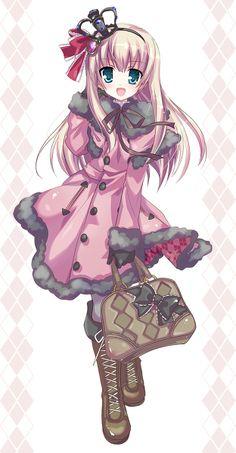 ✮ ANIME ART ✮ gothic lolita. . .coat. . .ribbon. . .bag. . .boots. . .crown. . .cute. . .kawaii