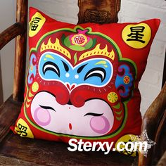With the image of the cute Fuwa (Good-luck doll), this cushion cover has a larg'Fu'(Happiness) sign on the back. Adding a feeling of jubilation and warmness to your home.  #chinesenewyear #cushioncover #cushions