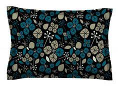 Leaf Scatters Midnight by Allison Beilke Cotton Pillow Sham