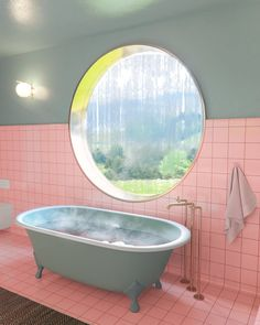 5 Round Windows That Make the Most of Natural Light - pink and green bathroom with a round window over the tub - Bathroom Inspiration, Interior Inspiration, Fashion Inspiration, Lavabo Vintage, Mint Bathroom, Bathroom Bath, Bathroom With Window, Master Bathroom, Natural Bathroom