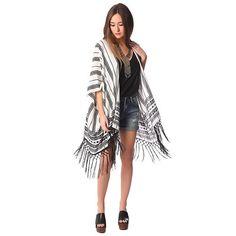 Black geo-tribal kimono with tassel trim