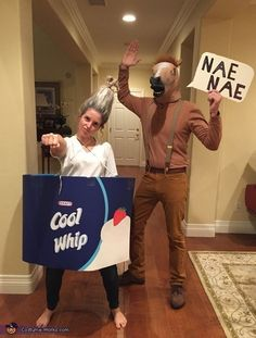 29 Couples Halloween Costumes That Are Anything But Cheesy Funny couples costume idea: Whip and Nae Nae Meme Costume, Pun Costumes, Funny Couple Halloween Costumes, Costume Works, Hilarious Couples Costumes, Halloween Costume Ideas For Couples, Group Costumes, Awesome Couple Costumes, Funniest Costumes