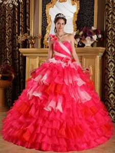 Red One Shoulder Ruffles Quinceanera Dress with Hand Made Flowers