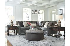 When you think of gray, does it conjure images of dull, drab settings? With an abundance of finishes and textures to choose from, it may just . Small Sectional Sofa, Reclining Sectional, Going Gray, Modular Sofa, Discount Furniture, Living Spaces, Living Rooms, Living Room Furniture, New Homes