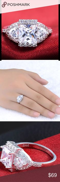 ASHA Diamond S925 Silver Ring 3ct Diamondique ASHA Diamond Princess Cut Ring.  S925 Sterling Silver stamped band  Diamond encrusted band  Size 7 Quality H Cut princess square Clarity clear Brand new, never worn. No prop box included Shipped with tracking Ice  Jewelry Rings
