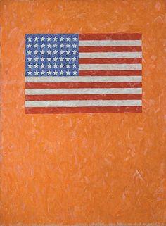 Jasper Johns Flag on Orange Field, 1957