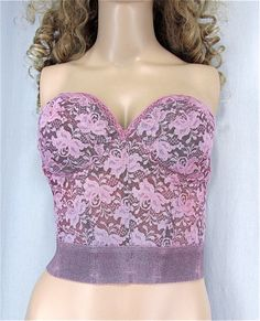 Lace Corset Bra 36D Vintage Bustier Hand Dyed by PlayItAgainGlam