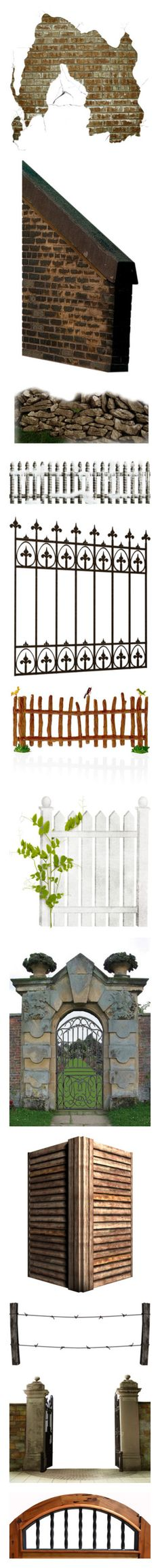 """Fences, Walls, Gates, Pillars, Arches and Gazebos"" by brandileek ❤ liked on Polyvore featuring walls, garden, winter, christmas, fence, xmas, filler, home, home decor and wooden figurines"