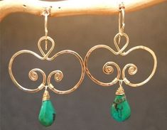 Hammered swirl earrings with Turquoise by CalicoJunoJewelry