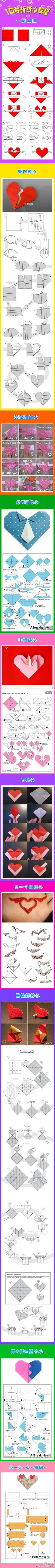 10 origami heart tutorials